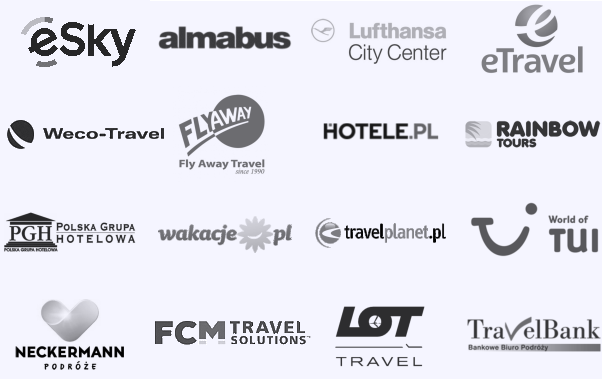Air Tours Cracow, Almabus, Bis LCC, Club&Travel, First Class, Flay Away Travel, Hotele.pl, INT Travel, Jagielonia, Netmedia, Olimp Air, Polskie Biuro Podróży, Rezerwuje.pl, Almatur, Sigma Travel, Supertour LCC, Travel Bank, Sky Tours, TUI, Why Not FLY, PGH, Rainbow Tours